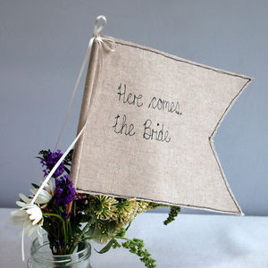 Here Comes The Bride Wedding Flag - table decorations
