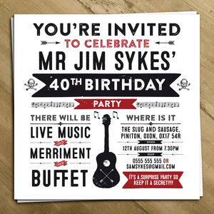 Personalised Party Invite - adults party invitations