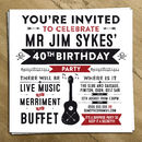 Personalised Guitar Party Invite