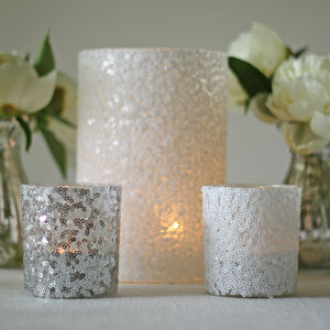Sequin Candle Holders And Vases - table decorations