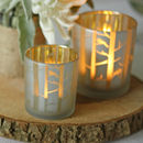 Frosted Glass Tea Light Holders With Gold Branches