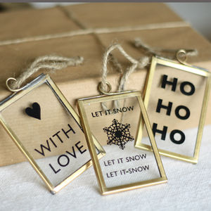 Christmas Glass Gift Tags Or Hanging Decorations - tree decorations