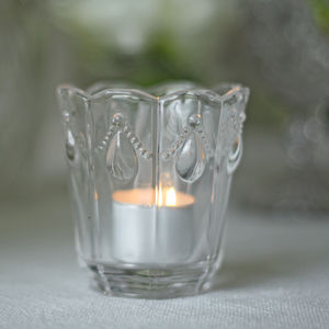 Clear Pressed Glass Tea Light Holder - dining room