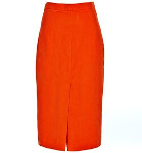 Greta Orange Fuji Silk Pencil Skirt - women's fashion