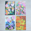 Set Of Four Floral Vintage Birthday Cards