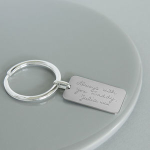 Dad's Personalised Sterling Silver Dog Tag Key Ring - keyrings
