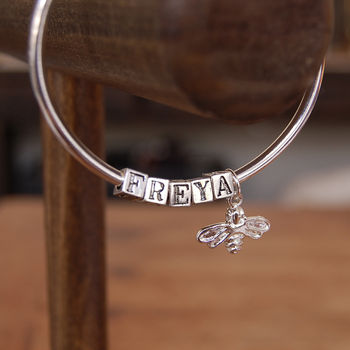 Personalised Name Bangle With Honey Bee Charm