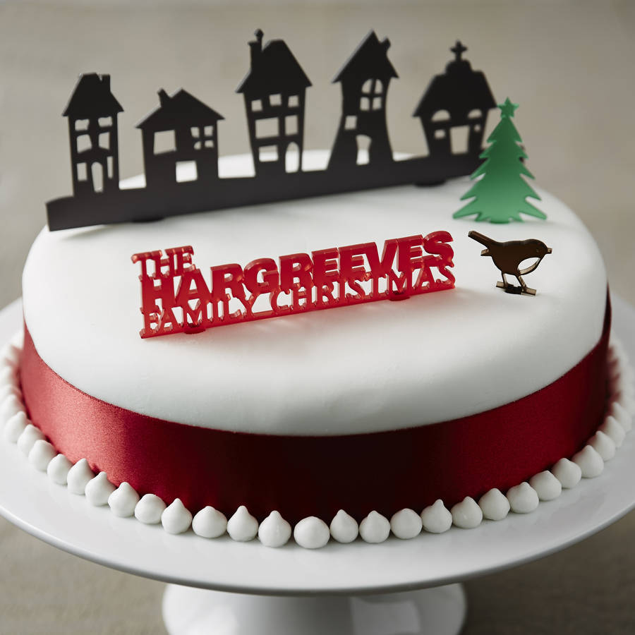 personalised traditional christmas cake topper set
