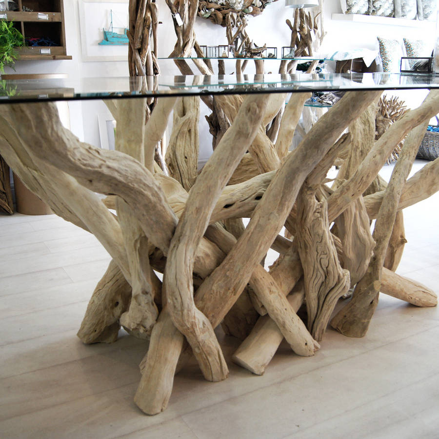 Rectangular Driftwood Dining Table By Doris Brixham