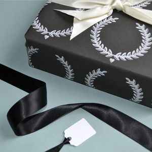 Hand Printed Laurel Wreath Wrapping Paper - ribbon & wrap