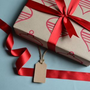 Hand Printed Christmas Baubles Wrapping Paper - shop by category