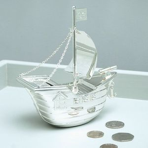 Silver Plated Pirate Ship Money Box - storage & organisers