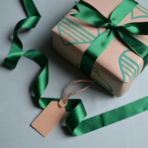 Hand Printed Green Baubles Wrapping Paper - wrapping