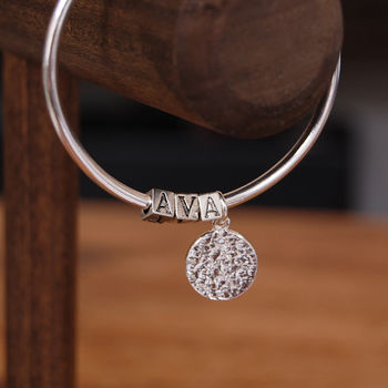 Personalised Name Bangle With Coin Charm