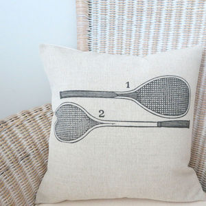 Vintage Tennis Rackets Cushion Cover - bedroom