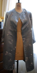 Vintage 1950s Powder Blue Satin Duster Coat