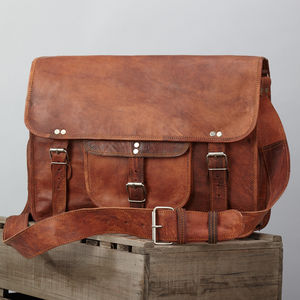 Unisex Leather Satchel - men's accessories