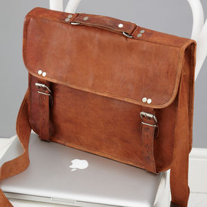 Vintage Style Leather Laptop Bag - more