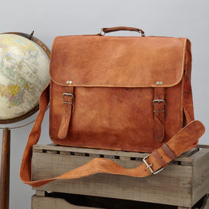 Classic Leather Messenger With Handle - laptop bags & cases