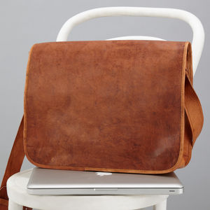 Classic Leather Messenger Bag - womens