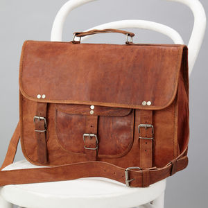 Leather Laptop Bag With Handle And Pocket - womens