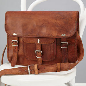 Classic Leather Satchel With Front Pocket - laptop bags & cases