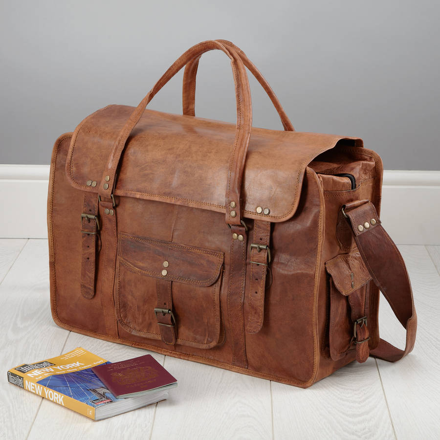 leather weekend bag by vida vida | notonthehighstreet.com