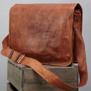 Leather Messenger Bag - bags