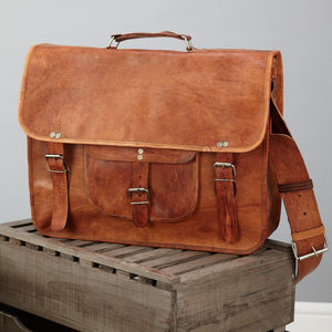 Leather Satchel With Front Pocket And Handle - more