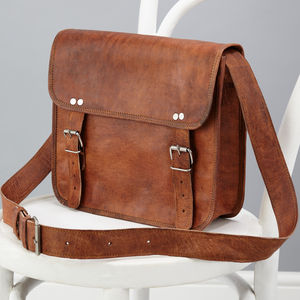 Leather Two Buckle Day Bag - womens