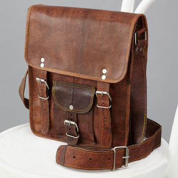Long Leather Satchel With Front Pocket