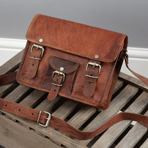 Leather Satchel With Front Pocket - shoulder bags