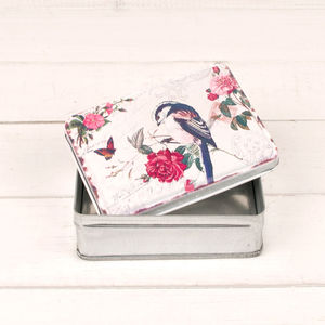 Vintage Bird Storage Tin