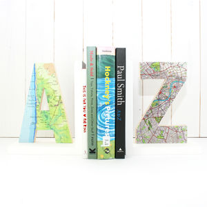 Personalised Map Location Letter Bookend - office & study