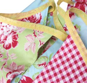 Cotton Bunting 'Green &Red Summer Rose' - bunting & garlands