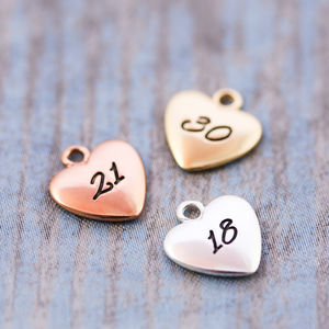 Add On Number Heart Charm