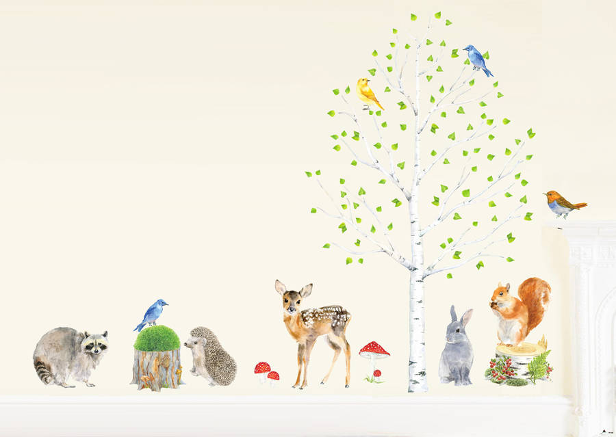 woodland nursery wall stickers, animals and tree setchocovenyl