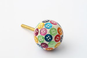 Multicoloured Button Drawer Knob