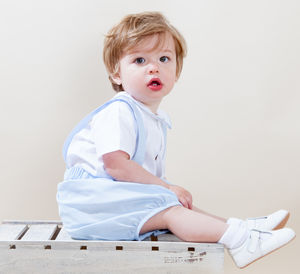 William Shirt And Romper Pants Set 100% Cotton Blue - christening wear