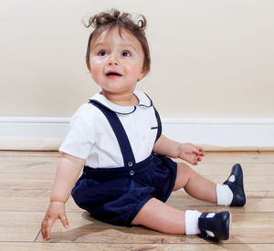 William Shirt And Puff Pants Set 100% Cotton Navy - christening wear