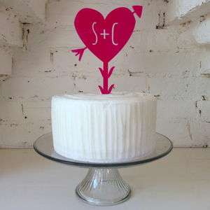Personalised Large Heart And Arrow Wedding Cake Topper