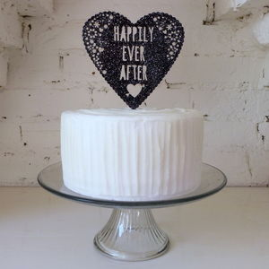 Personalised Name Or Message Wedding Heart Cake Topper