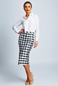 Greta Check Taffeta Silk Pencil Skirt