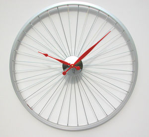 Bicycle Wheel Clock 57 Cm Red - clocks