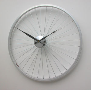 Bicycle Wheel Clock 57cm Black - dining room