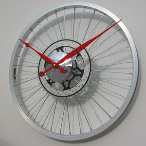 Bike Sprocket Coloured Hands Wheel Clock - clocks