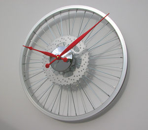 Bike Sprocket Silver Wheel Clock - dining room