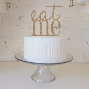Gold Glitter 'Eat Me' Cake Topper