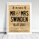 Personalised 1st Wedding Anniversary Print