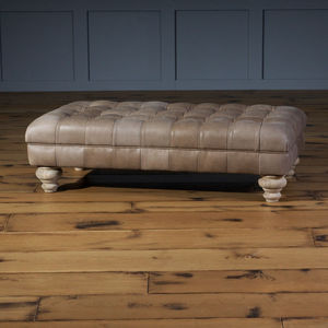 Chesterfield Leather Footstool - furniture